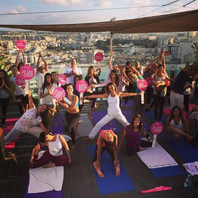 yoga on the roof casablanca sofitelcasablancatourblanche for globalwellnessday just breathhellip